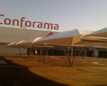 cubiertas textiles para aparcamiento en centro comercial de toledo