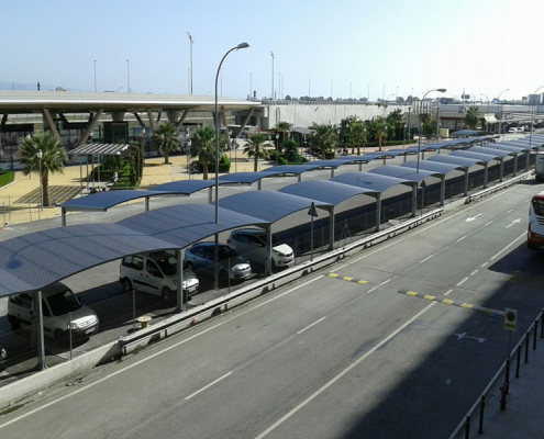 Preferential parking canopies at Málaga Airport