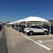 Marquesinas de aparcamiento textiles en el aeropuerto Madrid-Barajas