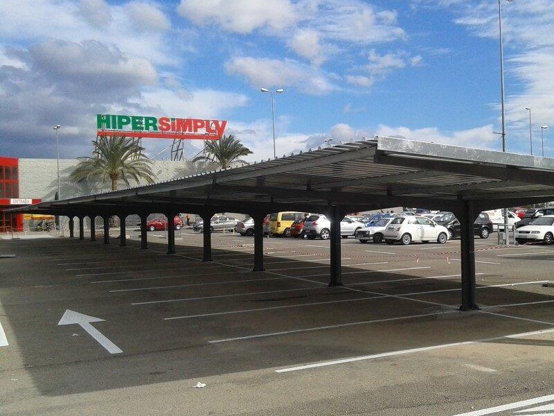marquesinas de aparcamiento para supermercados simply