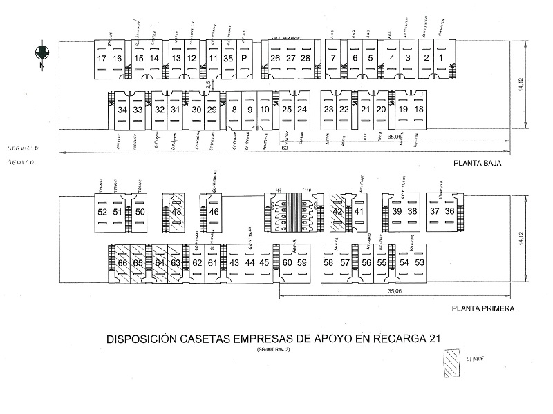 plano de distribucion de los modulos prefabricados en la central nuclear de cofrentes