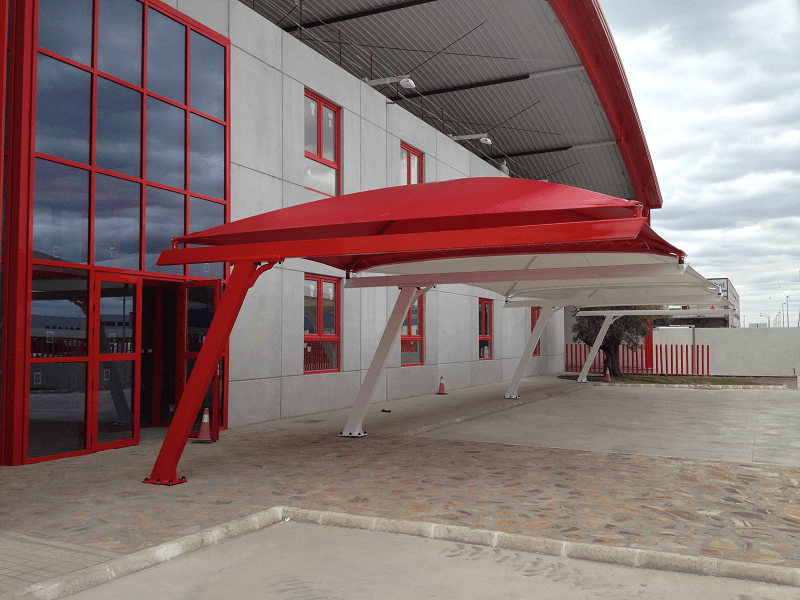 Textile car park canopies