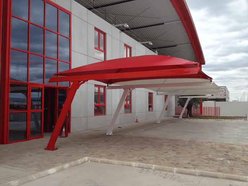 Textile car park canopies